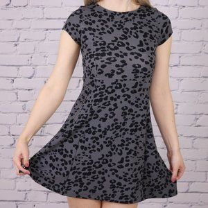 Dex grey leopard print skater dress C1